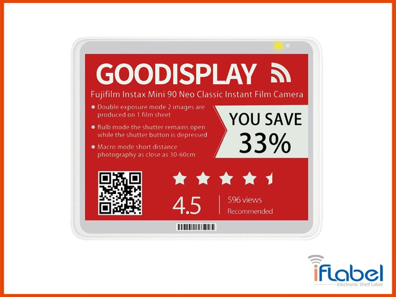 5.83 inch red ESL tag, electronic paper display, Intelligent Supermarket, GDC58S