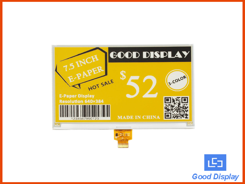 7.5 inch three-color e-paper display E-ink large panel black white and yellow GDEW075C21